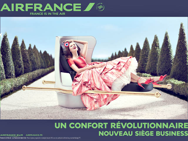 """Revolutionary comfort. New Business Class seat."" A French queen or a Revolutionary who has sold out? Copyright Air France, 2014"