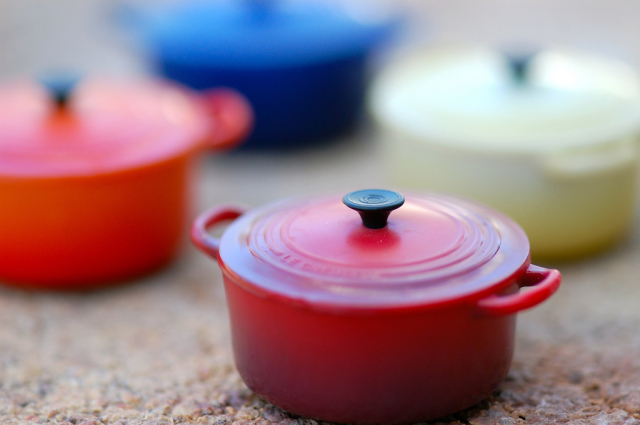 Le Creuset fridge magnet set (They fit in the palm of your hand.)